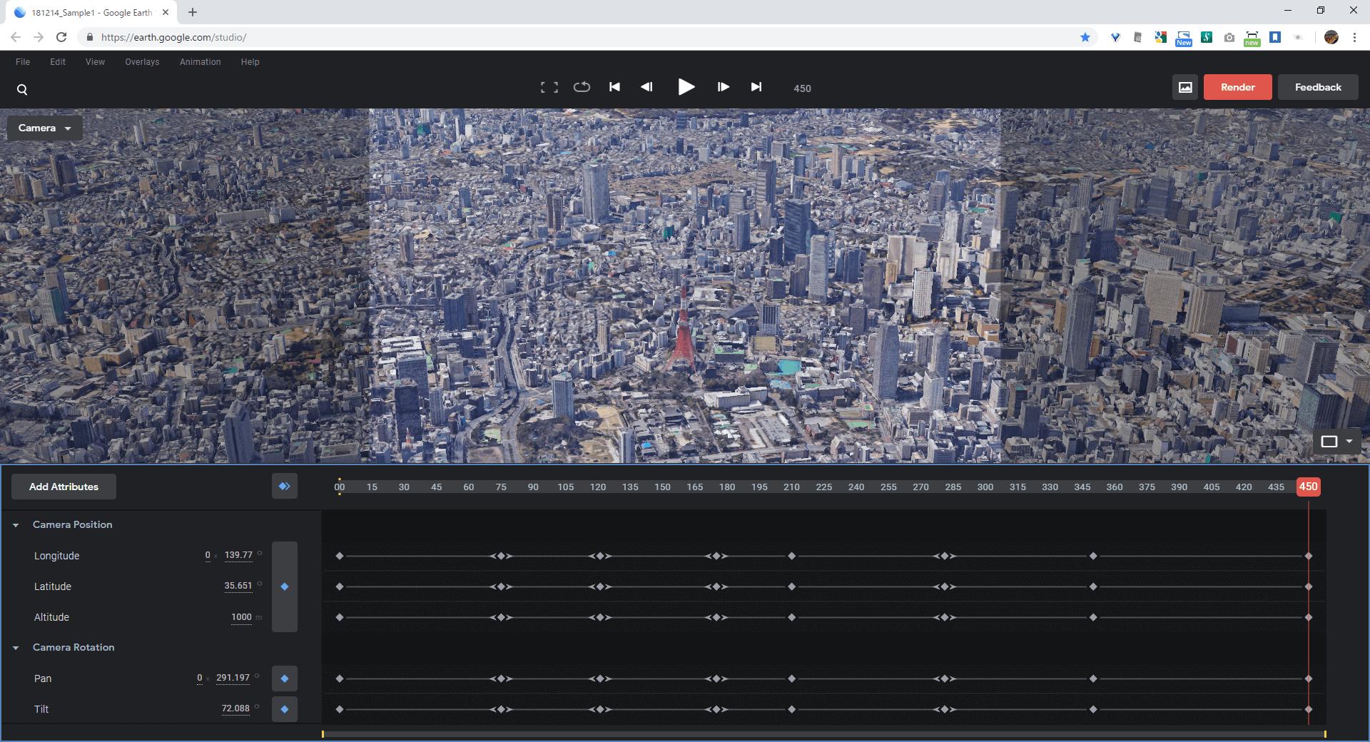Google Earth Studio の動画編集操作画面のスクリーンショット