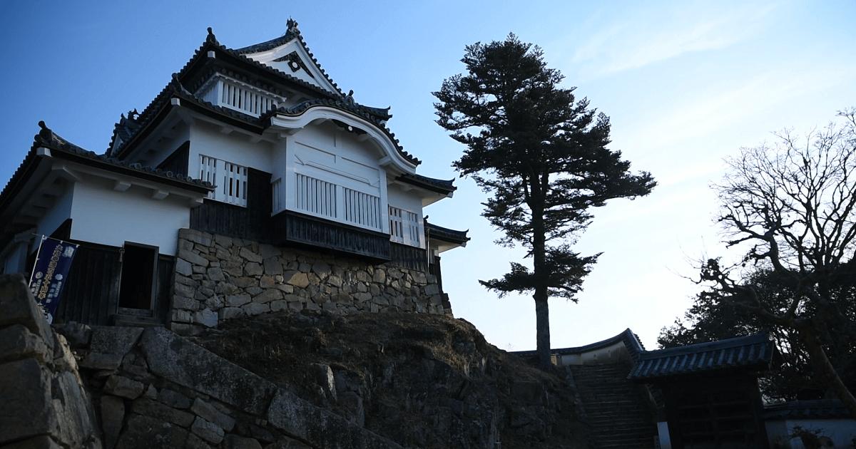 朝方に撮影した備中松山城の写真
