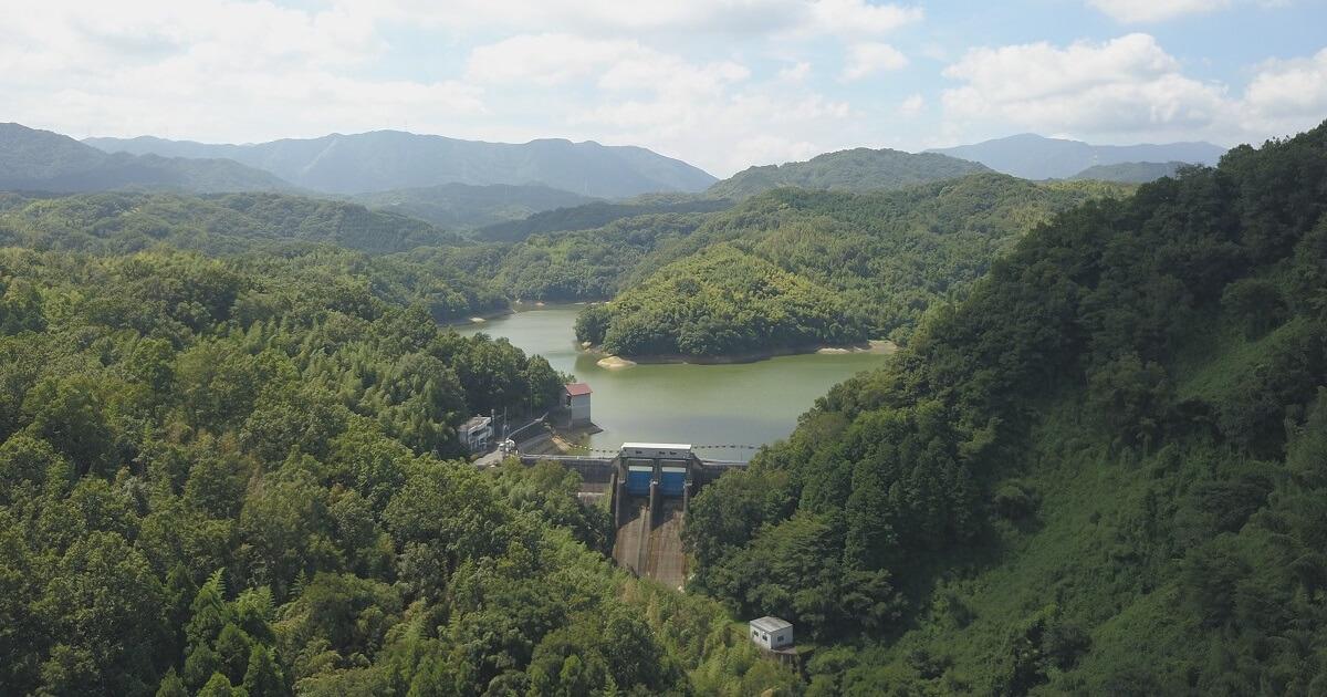 制作実績:ダム建築現場の3DCG合成フォトモンタージュ用の空撮写真のサムネイル画像